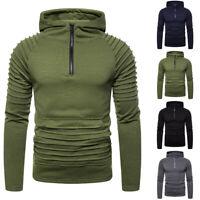Winter Men Warm Slim Fit Zip-up Hoodie Long Sleeve Hooded Pullover Sweatshirt