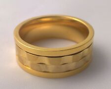 G-Filled 18ct yellow gold wedding band 9mm Mens spinner ring comfort fit size 12