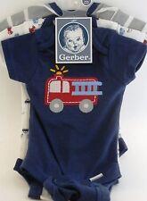 Gerber Baby Boy Onesie Fire Truck 3 pack size Newborn NWT BABY SHOWER GIFT