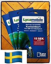 3 st Lycamobile Swedish Sim Card NEW