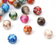50 Acrylperlen 8 mm Acryl Perlen Metall plattiert Basteln Deko 2118