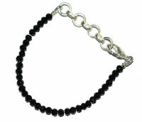 "5-10"" Jawelry Bracelet  4mm Black Spinel Gemstone Rondelle Faceted Beads TVF4411"