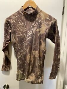 Mens Under Armour Compression L/S Mock Athletic T-Shirt Large L Camouflage Hunt
