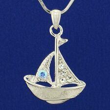 Sailing Boat W Swarovski Crystal AB Clear Sailboat Ship Marine Pendant Necklace