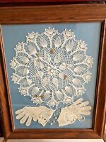 VTG Hand Crocheted Lace Doily, pearls, gloves, trinkets Framed collage  20x24""
