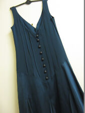 Real Vintage 30s steel blue, sleeveless, real silk, long dress Size 8-10