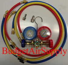 "EZ READ 410a,R22,404a,134a Manifold Gauges 48"" w Shutoffs +Mini Split Adapters"