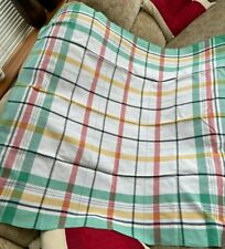 """Vintage Tablecloth Green White Yellow and Red Cotton 45"""" square Good Condition"""