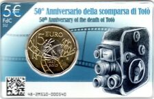 NEW !!! 5 EURO COMMEMORATIVO ITALIA 2017 50° scomparsa di Totò in Folder NEW !!!