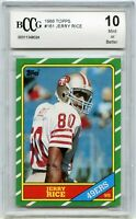 1986 Topps #161 Jerry Rice 49ers Rookie Card Graded BGS BCCG 10 Mint+