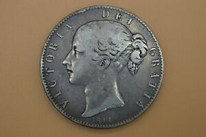 Queen Victoria 1844 Young Head Coinage Milled Silver Crown With Cinquefoil Stops