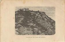 Stampa antica VERCURAGO resti Castello Innominato Lecco 1894 Old antique print