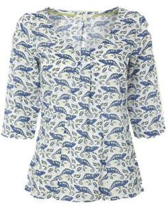 White Stuff top lovely modal Chameleon print  NEW 8 10 14 rrp £35  white blue