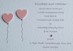 50 Personalised Engagement Party Invitations/Invites *23 Heart Colours* FREE P&P