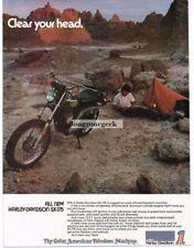 1974 Harley Davidson SX-175 Motorcycle Man Camping Vtg Print Ad