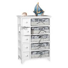 Melko® Landhaus Kommode Schrank Sideboard Regal Weiß 5 Körben Küchenschrank