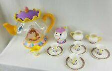 Vtg Disney Store Mrs. Potts Plastic Tea Set w/ Chip and Storage Container Rare!