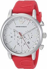 Emporio Armani Men's AR11021 'Sport' Chronograph Red Silicone Watch