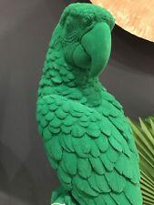 Large Green Flock Parrot on Perch Ornament - Tall Unique Bird Sculpture Birds