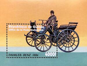 GUINEA CLASSIC CARS STAMPS SOUVENIR SHEET 2002 MNH DAIMLER BENZ 1886 AUTOMOBILE