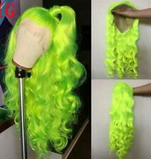 """US 24"""" Neon Yellow Long Curly Wavy Lace Front Wig Synthetic Hair Handtied"""