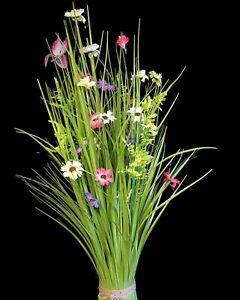 Artificial Meadow Flower Bundle x 70cm -Pink Purple White- Wild Grass Tied Sheaf