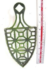 Beautiful Antique Green Enameled Flat Iron * TRIVET *Ideal Wall Hanger /Ornament