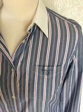 GANT Chambray Blue Striped Shirt, White Collar, Long Sleeve, Size 10 Business