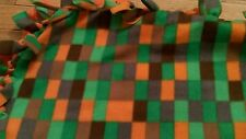 Brand New reversible polyester fleece throw blanket Orange/Rectangle Pattern