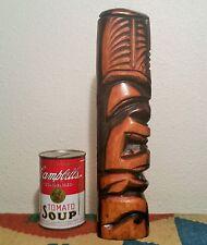 "ELI 12"" HAWAIIAN TIKI vtg big island Koa wood carving pacific tribal art statue"