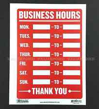 """Business Hours Thank You Weekly Hours sign 9"""" x 12""""  Flexible plastic Red"""