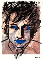 Bob Dylan Original Painting over 1913 Bourdelle Drawing Modern Art Neal Turner