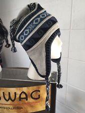 New white w light brown reversible adult size peruvian alpaca chullo hat