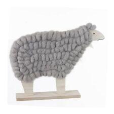Lot de 2 Moutons Gris en Bois et Laine pour Décoration Atmosphera