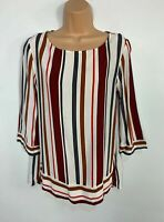 WOMENS NEXT SIZE UK 12 MULTI COLOURED STRIPE 3/4 SLEEVE CASUAL SHIRT BLOUSE TOP