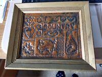 Vintage Art Primitive Metal Punch Folk Art I Love Country Copper Wood Frame