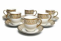 Royalty Porcelain 12pc Espresso Coffee Set, 24K Golden-Plated Cups with Saucers