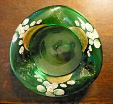 Vintage Green Glass Ashtray Bowl Hand Painted Art Glass Dish Hand Blown