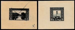BOSNIA AND HERZEGOVINA 1906 Two Imperforate Die Proofs, 25 H and 2 K