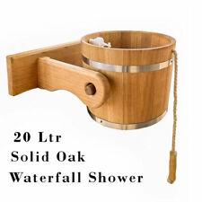 More details for huge 20ltr solid oak waterfall shower for sauna, steam-room, garden,  (uk stock)