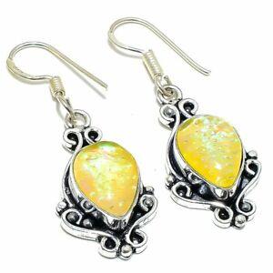 Yellow Triplet Fire Opal Gemstone Ethnic Silver Jewelry Earring 150 ESL1167