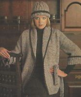 """Ladies Jacket and Hat with Shawl Collar Knitting Pattern DK 32-42"""" 1061"""