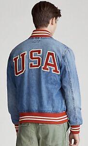 Vintage Polo Ralph Lauren P-Wing 92 Stadium Denim Letterman Varsity Jacket Sz L