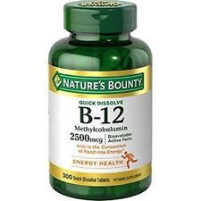 300 Tabs Nature's Bounty Quick Dissolve 2500 mcg Vitamin B-12 EXP 05/2021