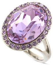 GIVENCHY Swarovski Crystal Violet Oval Silver-Tone Cocktail Ring - Size 7 $65
