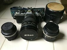 Nikon FM 35mm SLR Film Camera with: 50mm; 28- 200mm; 24mm lens