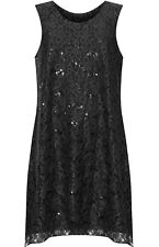Womens Plus Size Lace Top Sleeveless Stretch Ladies Short Party Dress 12-26 Black 16-18