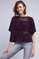 NWT SZ L $98 ANTHROPOLOGIE EMBROIDERED DARRIE TOP BY AKEMI + KIN KIMONO LACE