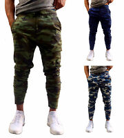 MENS CAMO TAPERED LEG JOGGERS GYM TRACKIES SKINNY CUFFED PANTS TRACK PANT ARMY