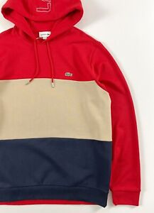 Lacoste Men's Hoodie Regular Fit Red Navy Colour Block Pullover SH6900-00-1FU